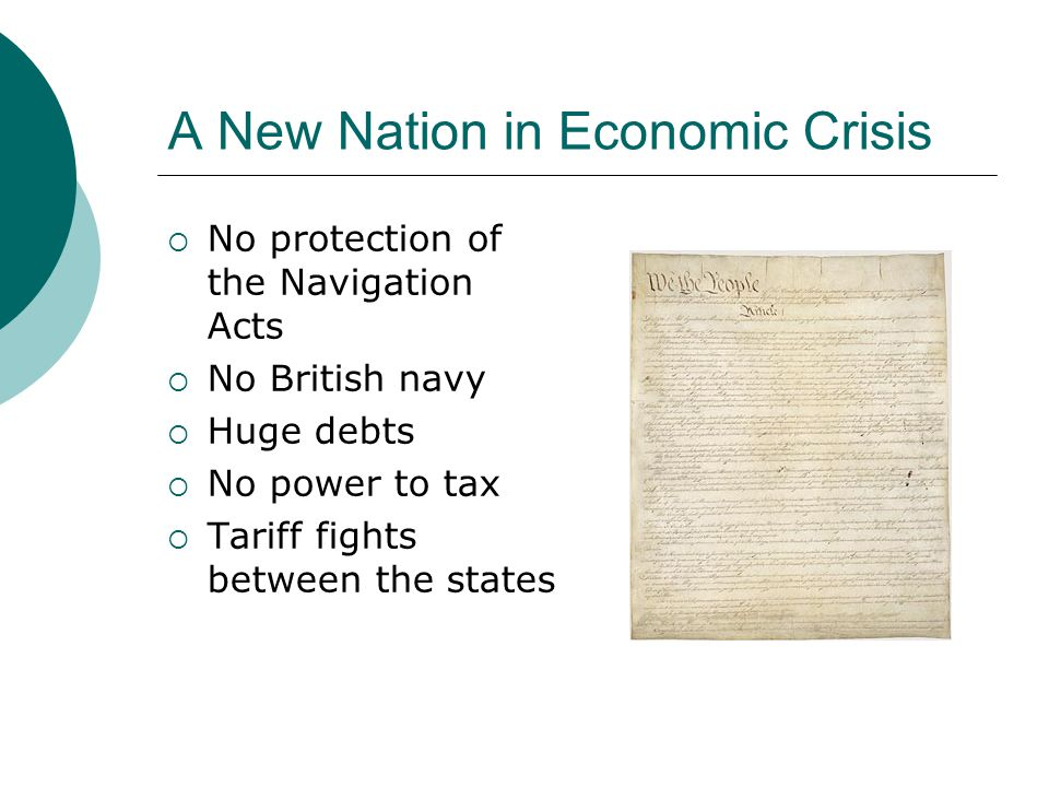 Economics of the Constitution Lesson 8 Problems under the Articles of Confederation