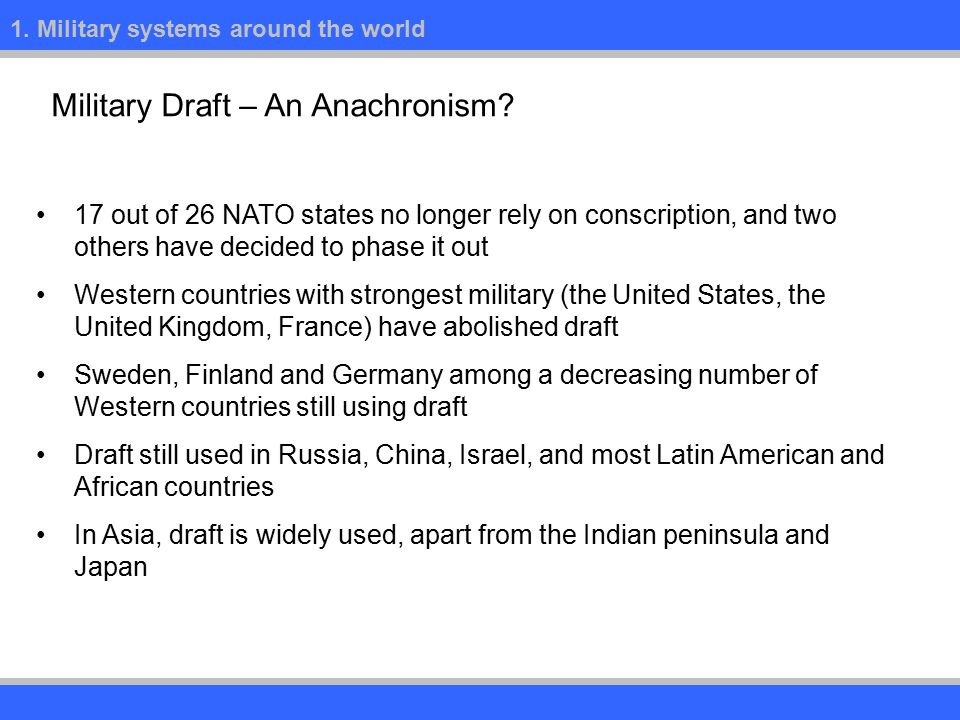 1. Military systems around the world Military Draft – An Anachronism.