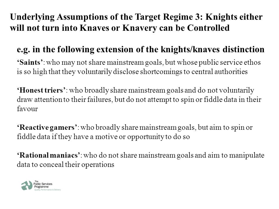 Underlying Assumptions of the Target Regime 3: Knights either will not turn into Knaves or Knavery can be Controlled 'Saints': who may not share mainstream goals, but whose public service ethos is so high that they voluntarily disclose shortcomings to central authorities 'Honest triers': who broadly share mainstream goals and do not voluntarily draw attention to their failures, but do not attempt to spin or fiddle data in their favour 'Reactive gamers': who broadly share mainstream goals, but aim to spin or fiddle data if they have a motive or opportunity to do so 'Rational maniacs': who do not share mainstream goals and aim to manipulate data to conceal their operations e.g.