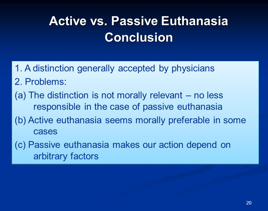 argument essay for euthanasia Introduction euthanasia is the practice of deliberately killing a person to spare him or her from having to deal with more pain and suffering this is always a controversial issue because of.