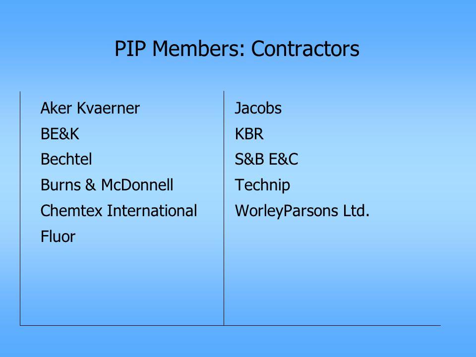 PIP Members: Contractors Aker Kvaerner BE&K Bechtel Burns & McDonnell Chemtex International Fluor Jacobs KBR S&B E&C Technip WorleyParsons Ltd.