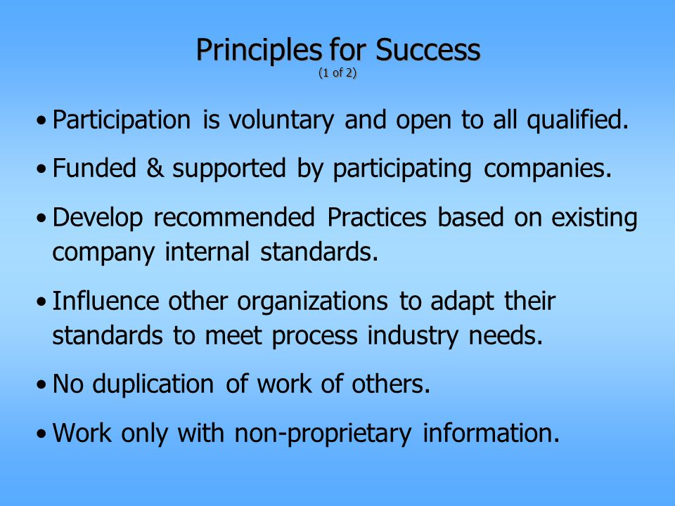 Principles for Success (1 of 2) Participation is voluntary and open to all qualified.
