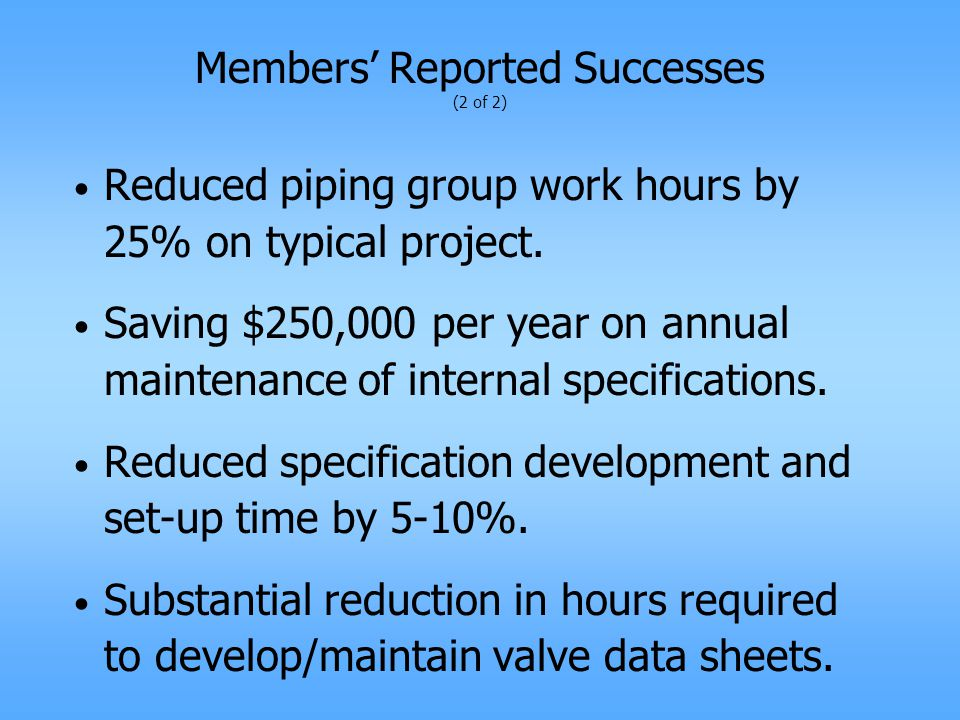 Members' Reported Successes (2 of 2) Reduced piping group work hours by 25% on typical project.