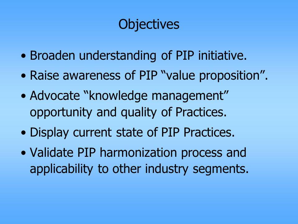 Objectives Broaden understanding of PIP initiative.