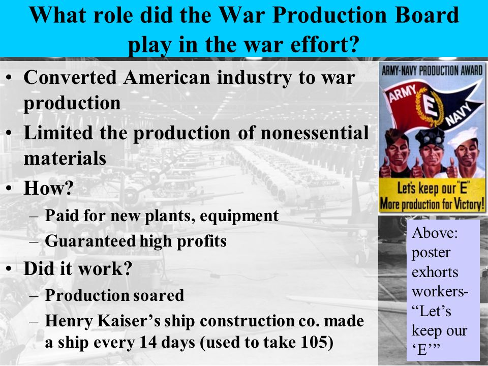 What role did the War Production Board play in the war effort.