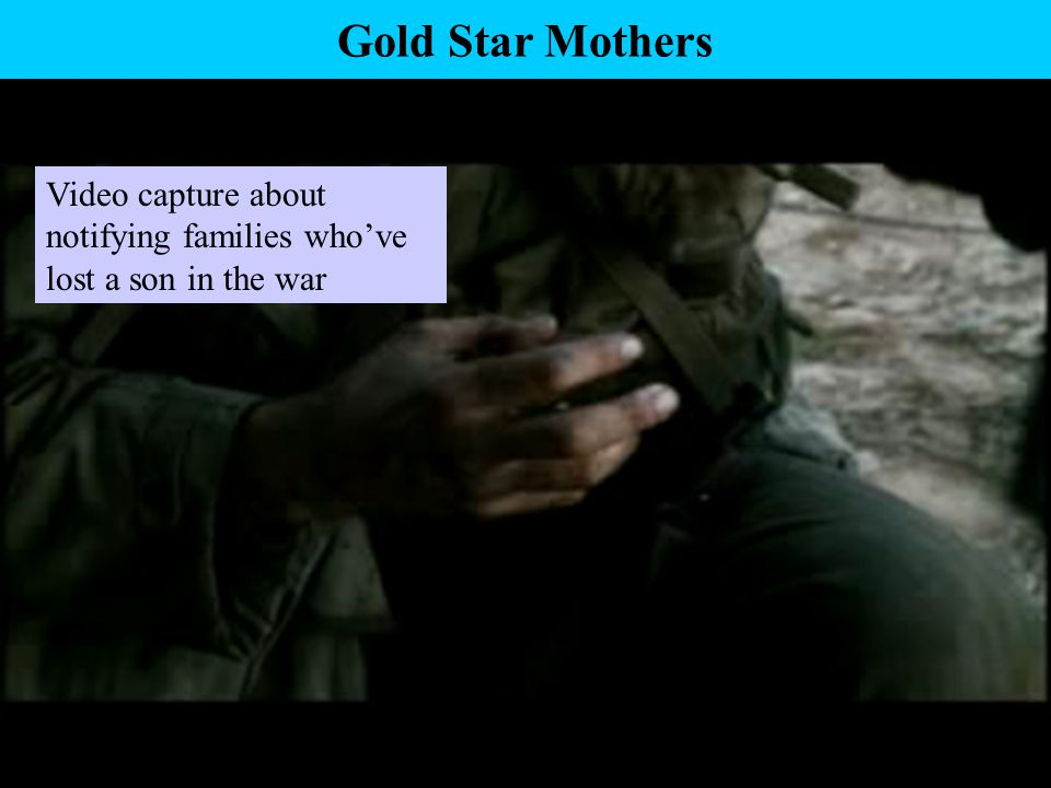 Gold Star Mothers Video capture about notifying families who've lost a son in the war