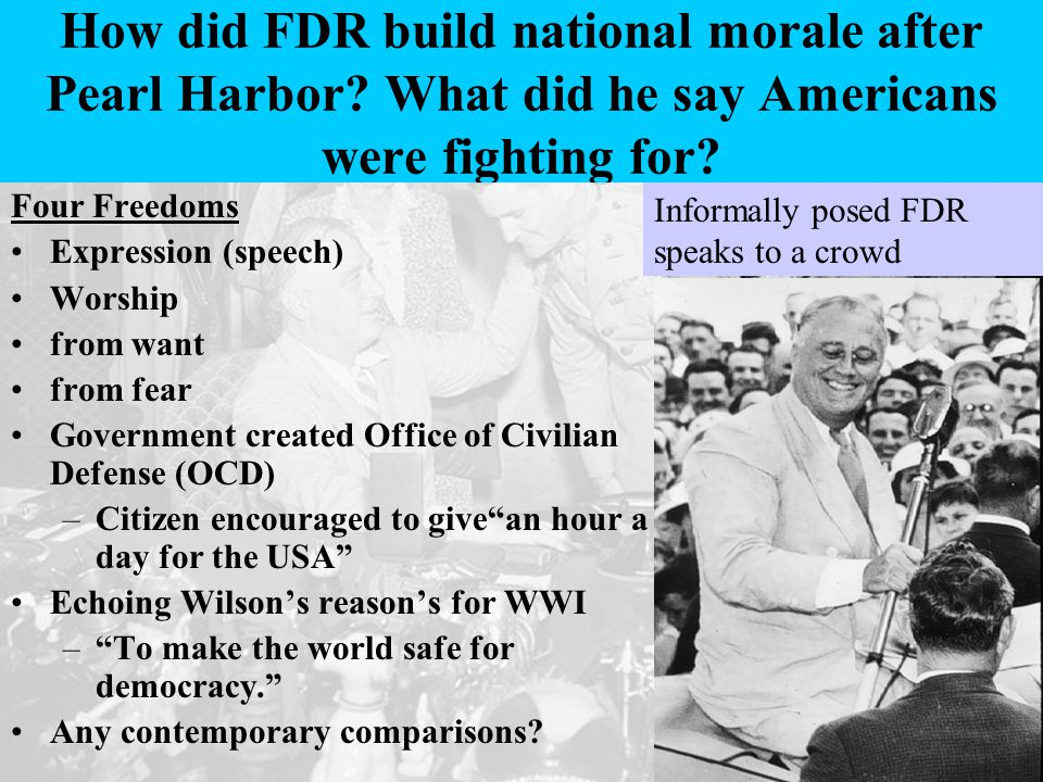 How did FDR build national morale after Pearl Harbor.