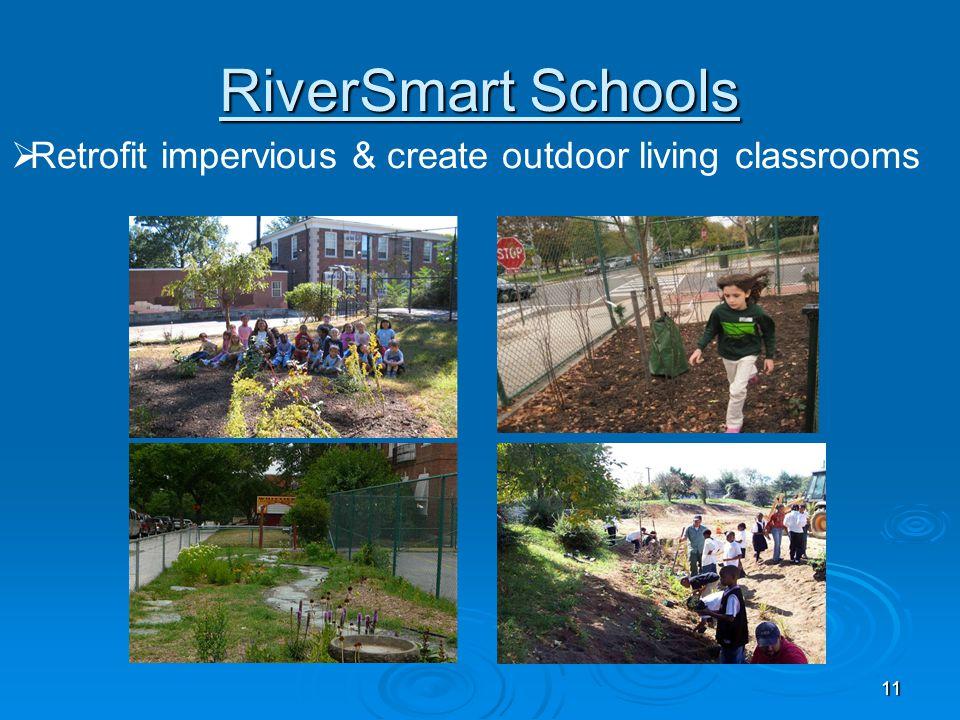 11 RiverSmart Schools  Retrofit impervious & create outdoor living classrooms