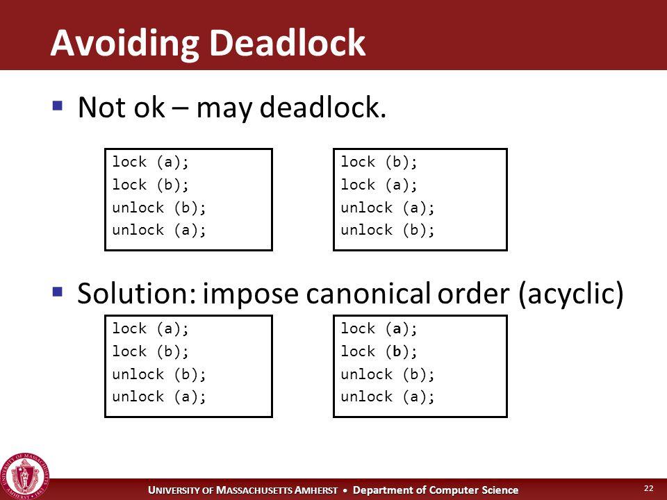 U NIVERSITY OF M ASSACHUSETTS A MHERST Department of Computer Science 22 lock (a); lock (b); unlock (b); unlock (a); lock (b); lock (a); unlock (a); unlock (b); lock (a); lock (b); unlock (b); unlock (a); lock (a); lock (b); unlock (b); unlock (a); Avoiding Deadlock  Not ok – may deadlock.