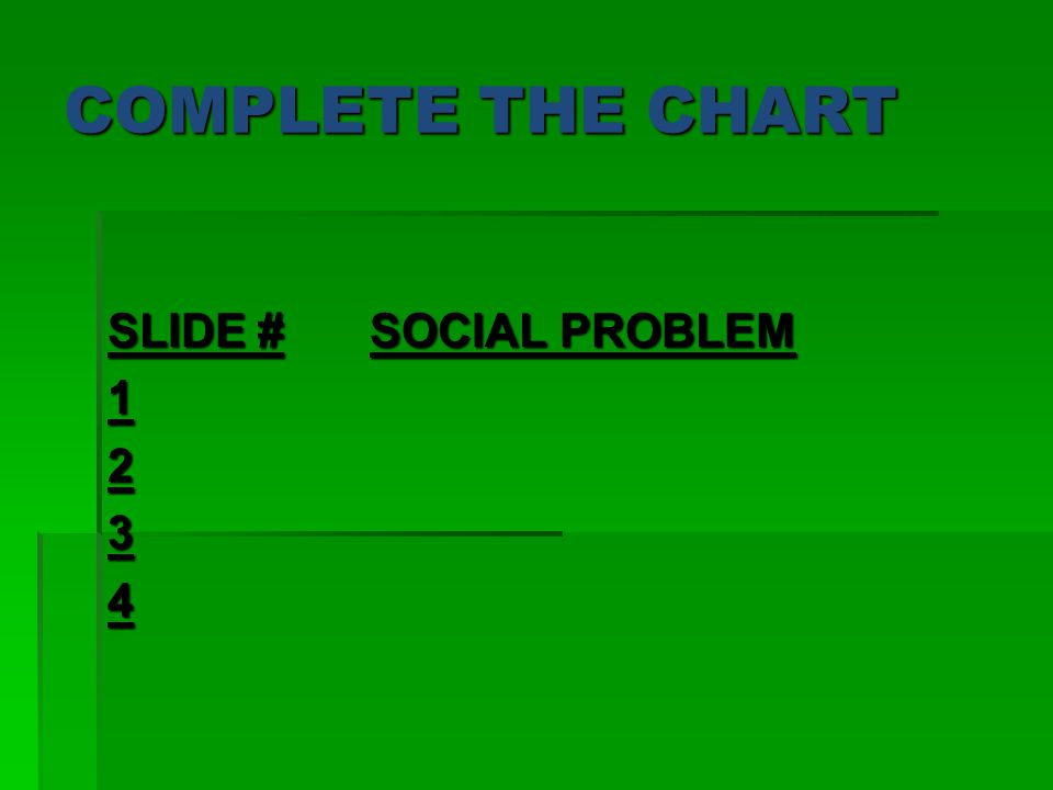 COMPLETE THE CHART SLIDE # SOCIAL PROBLEM 1234