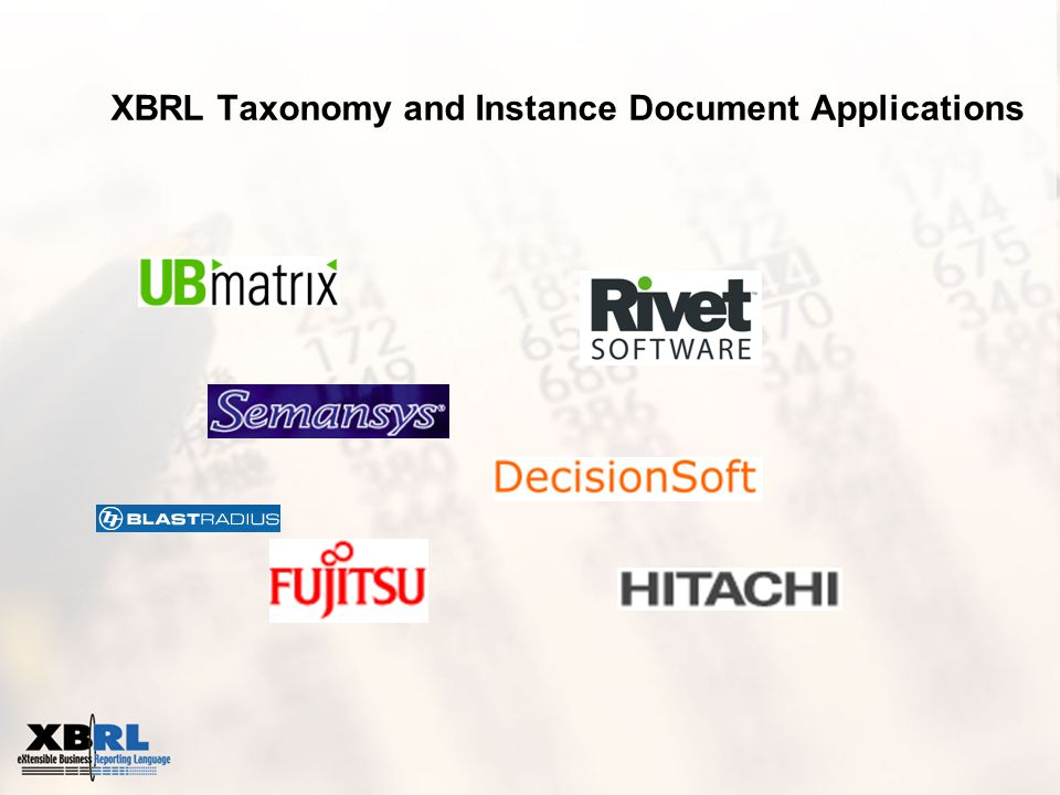 XBRL Taxonomy and Instance Document Applications