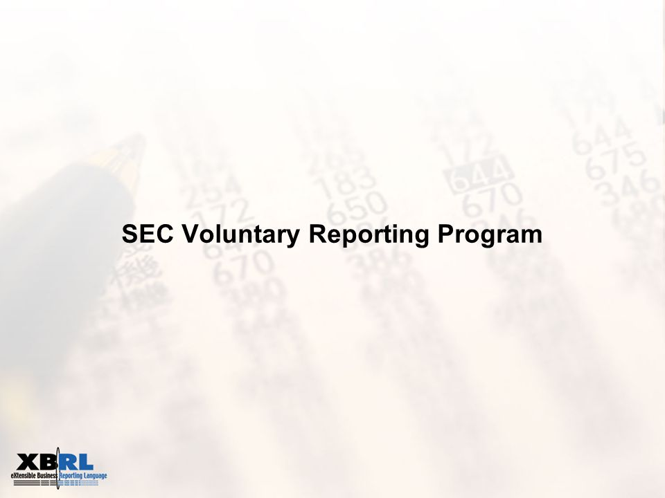 SEC Voluntary Reporting Program