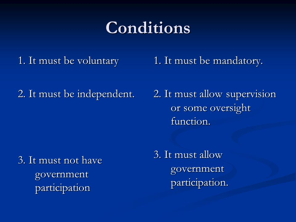 Conditions 1. It must be voluntary 2. It must be independent.