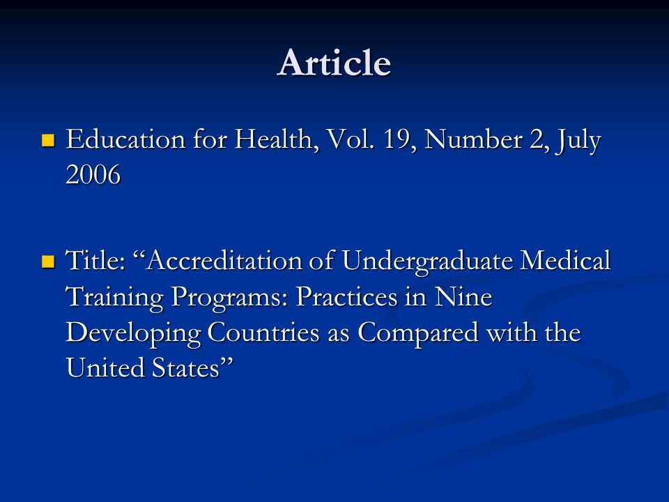 Article Education for Health, Vol. 19, Number 2, July 2006 Education for Health, Vol.
