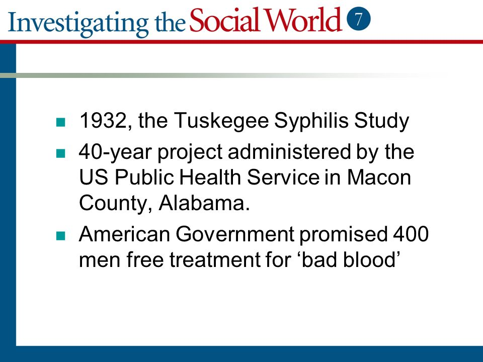 1932, the Tuskegee Syphilis Study 40-year project administered by the US Public Health Service in Macon County, Alabama. American Government promised