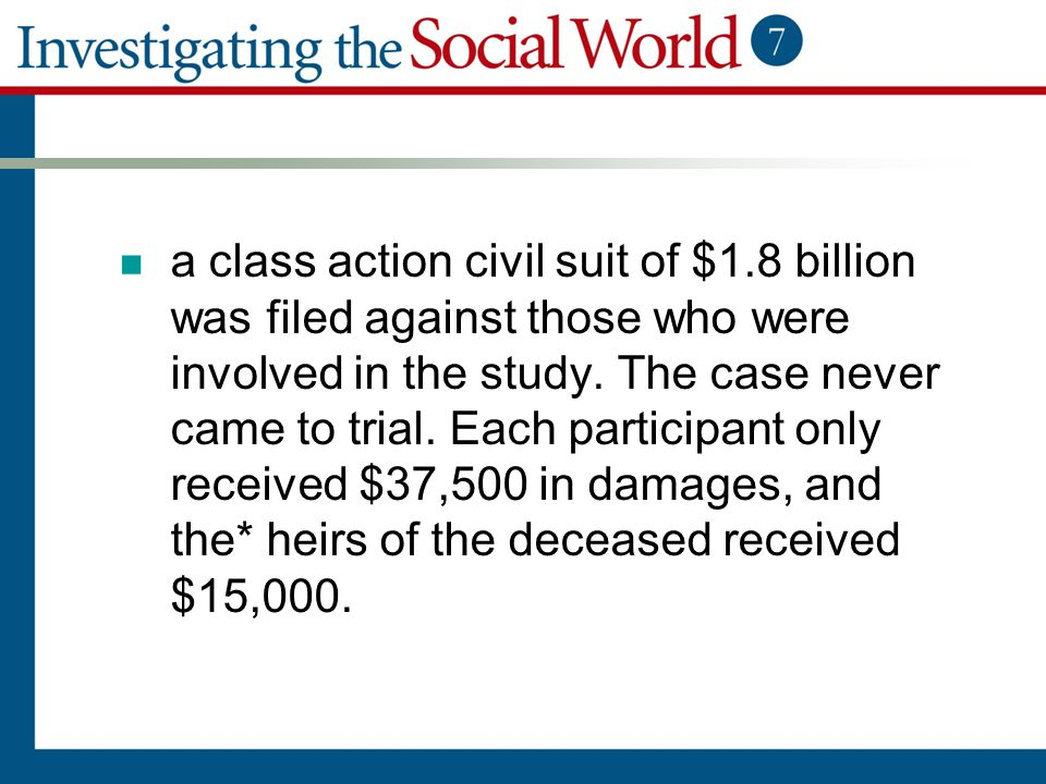 a class action civil suit of $1.8 billion was filed against those who were involved in the study. The case never came to trial. Each participant only