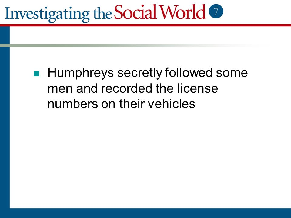 Humphreys secretly followed some men and recorded the license numbers on their vehicles