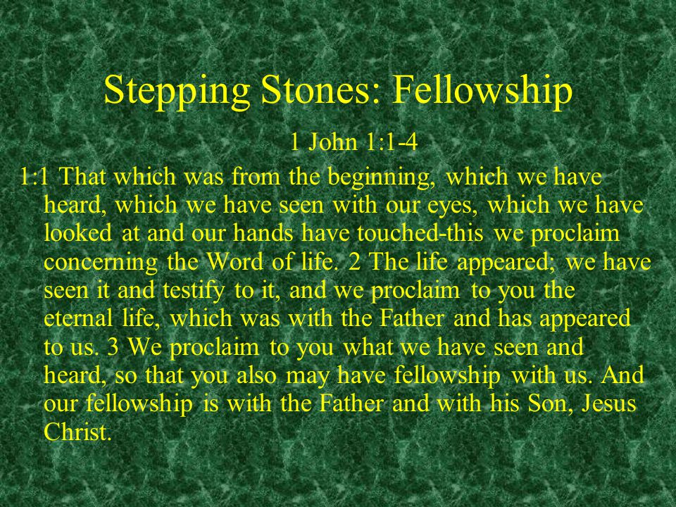 Stepping Stones: Fellowship 1 John 1:1-4 1:1 That which was from the beginning, which we have heard, which we have seen with our eyes, which we have looked at and our hands have touched-this we proclaim concerning the Word of life.