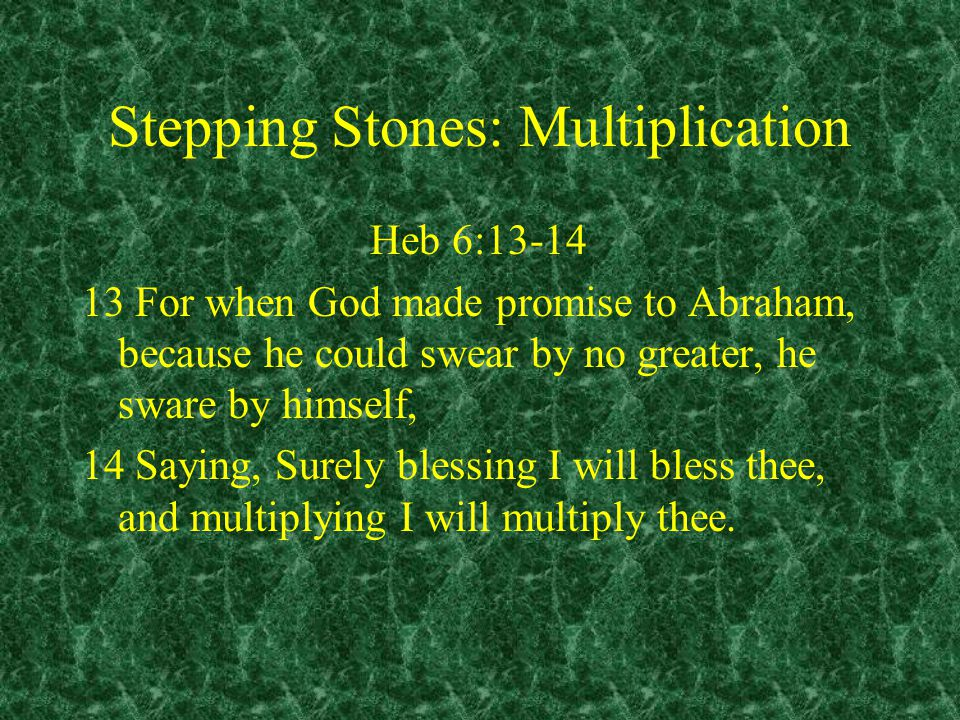 Stepping Stones: Multiplication Heb 6:13-14 13 For when God made promise to Abraham, because he could swear by no greater, he sware by himself, 14 Saying, Surely blessing I will bless thee, and multiplying I will multiply thee.