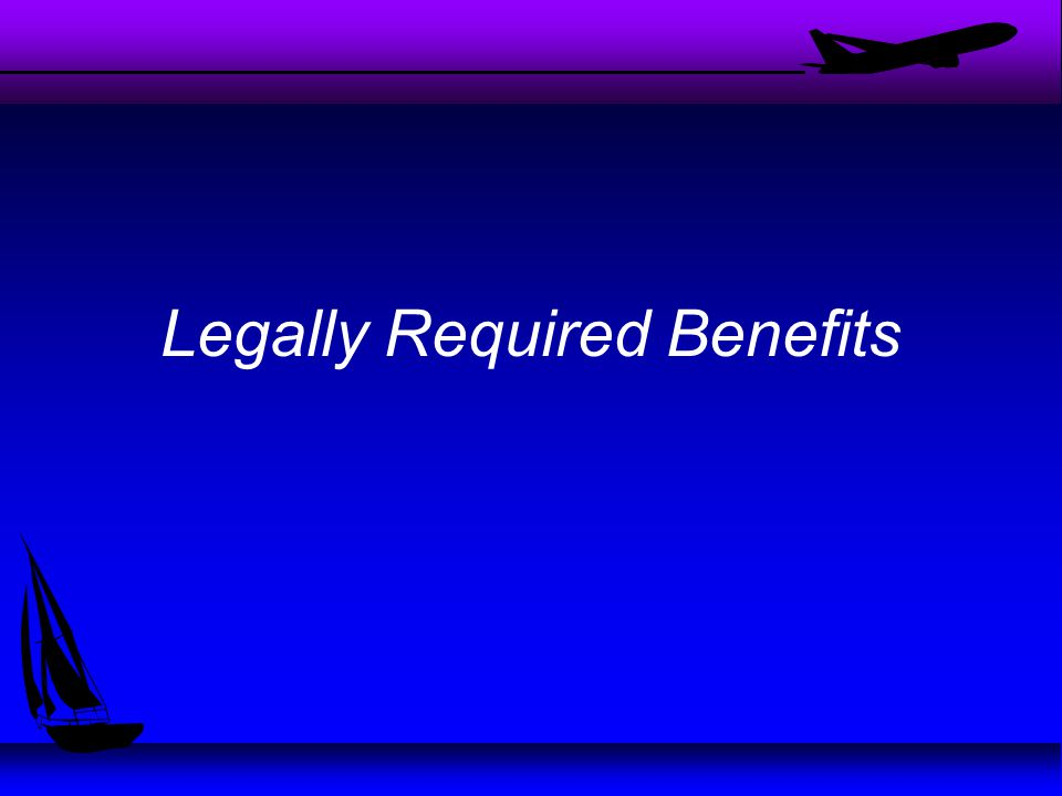 Types of Benefits u Name the benefits you think should be offered by companies u Which of these benefits are required by law.