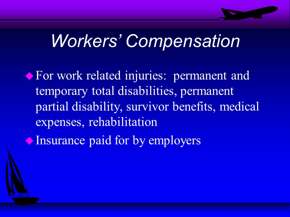 Workers' Compensation u For work related injuries: permanent and temporary total disabilities, permanent partial disability, survivor benefits, medical expenses, rehabilitation u Insurance paid for by employers