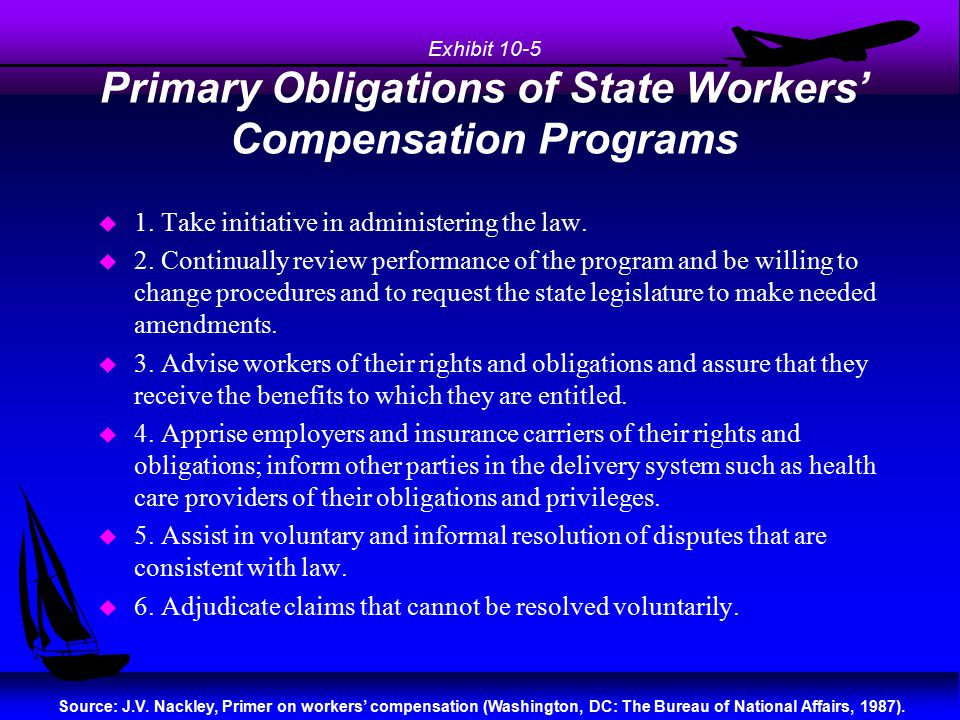 Exhibit 10-5 Primary Obligations of State Workers' Compensation Programs u 1. Take initiative in administering the law. u 2. Continually review perfor