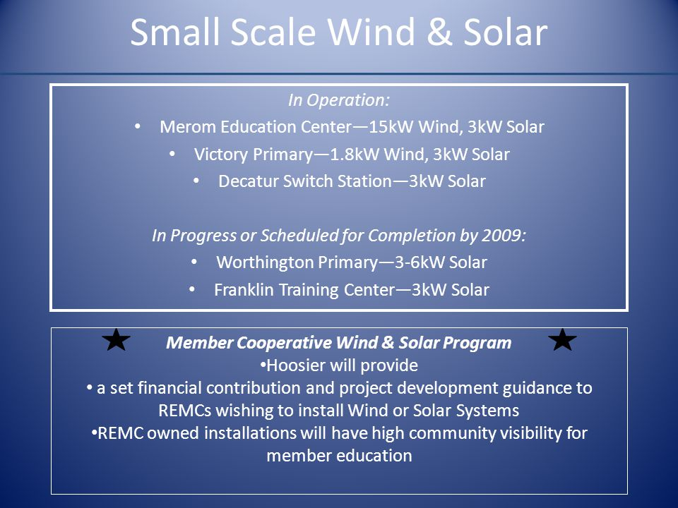 Small Scale Wind & Solar In Operation: Merom Education Center—15kW Wind, 3kW Solar Victory Primary—1.8kW Wind, 3kW Solar Decatur Switch Station—3kW So