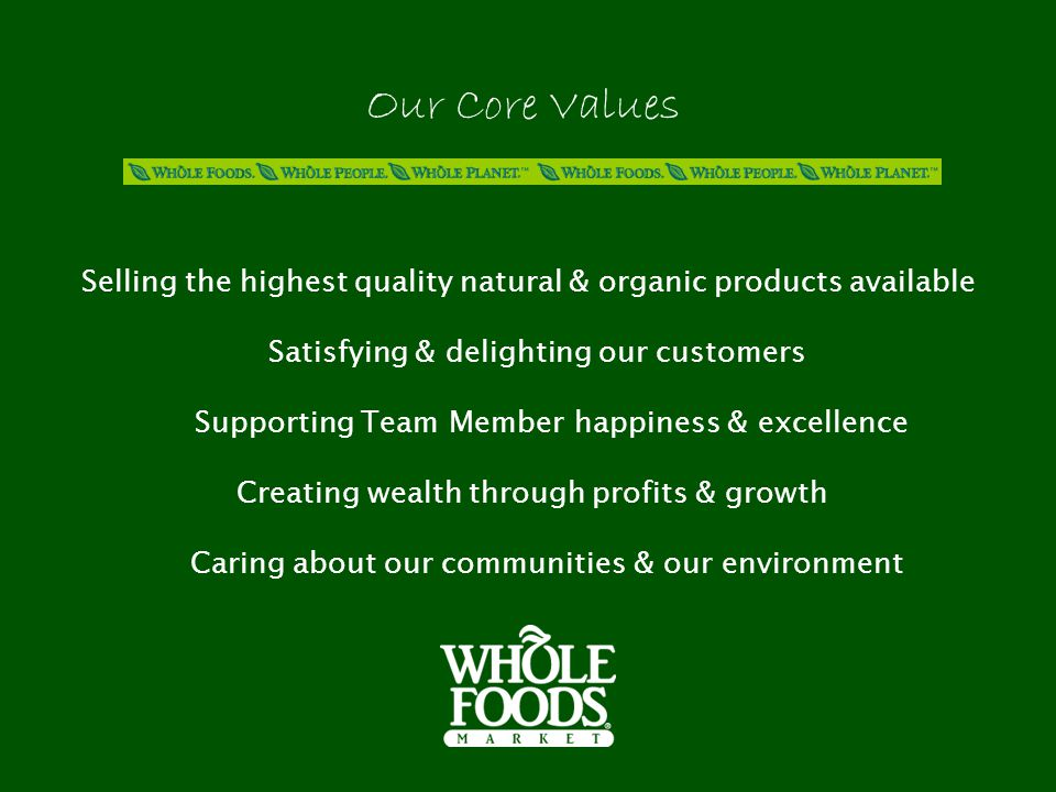 Selling the highest quality natural & organic products available Satisfying & delighting our customers Supporting Team Member happiness & excellence Creating wealth through profits & growth Caring about our communities & our environment Our Core Values