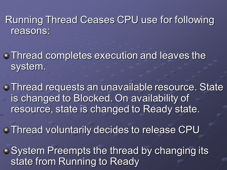 Running Thread Ceases CPU use for following reasons: Running Thread Ceases CPU use for following reasons: Thread completes execution and leaves the sy