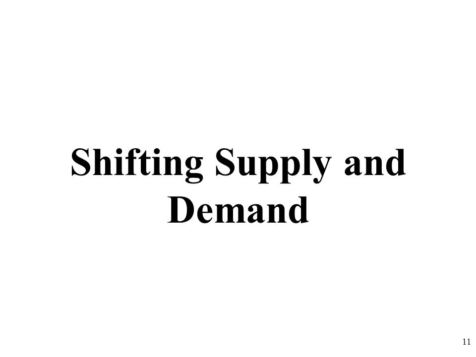 Shifting Supply and Demand 11