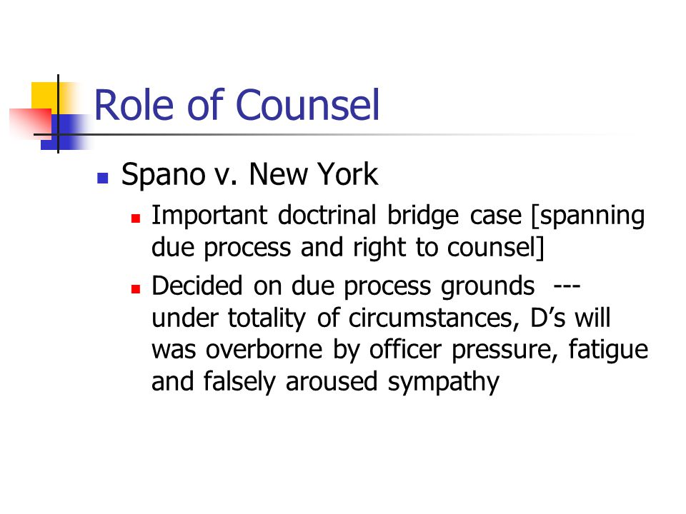 Role of Counsel Spano v. New York Important doctrinal bridge case [spanning due process and right to counsel] Decided on due process grounds --- under