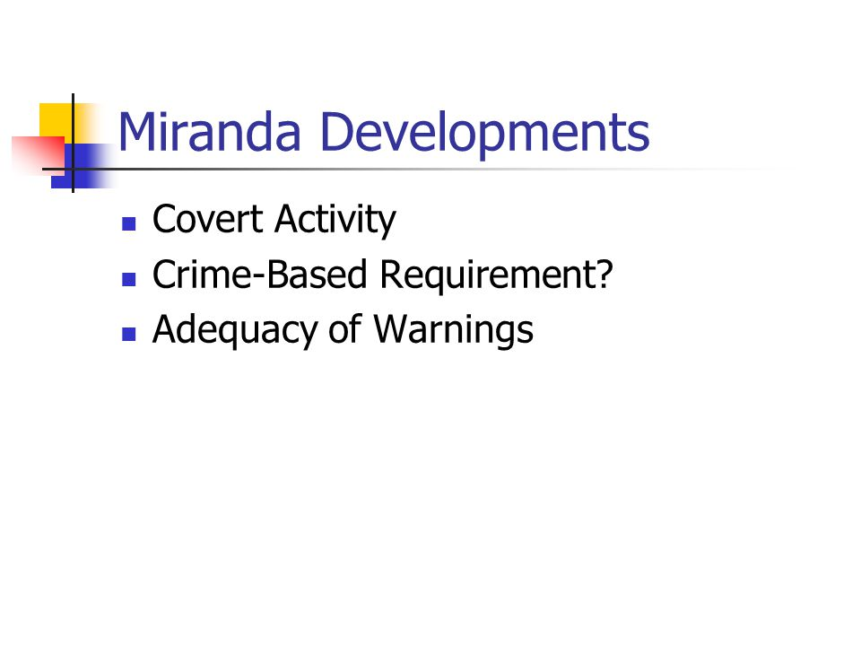 Miranda Developments Covert Activity Crime-Based Requirement Adequacy of Warnings