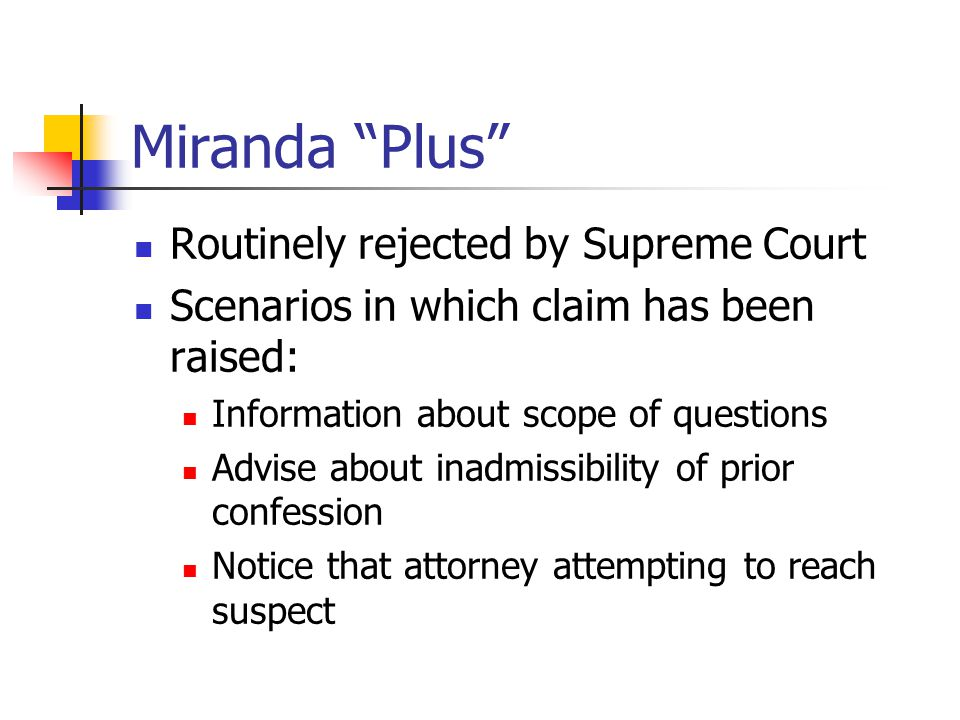 Miranda Plus Routinely rejected by Supreme Court Scenarios in which claim has been raised: Information about scope of questions Advise about inadmissibility of prior confession Notice that attorney attempting to reach suspect