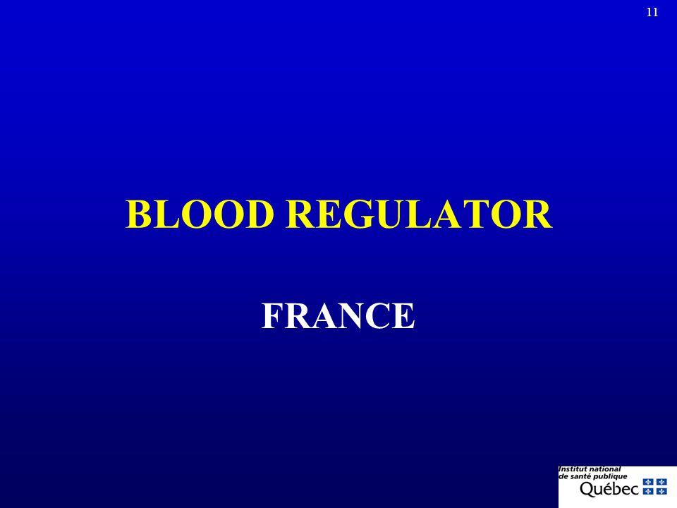10 TYPES OF GOVERNANCE FOR HAEMOVIGILANCE SYSTEMS Blood regulator –France, Switzerland, Germany Blood manufacturer –Singapore, Japan, South Africa, De