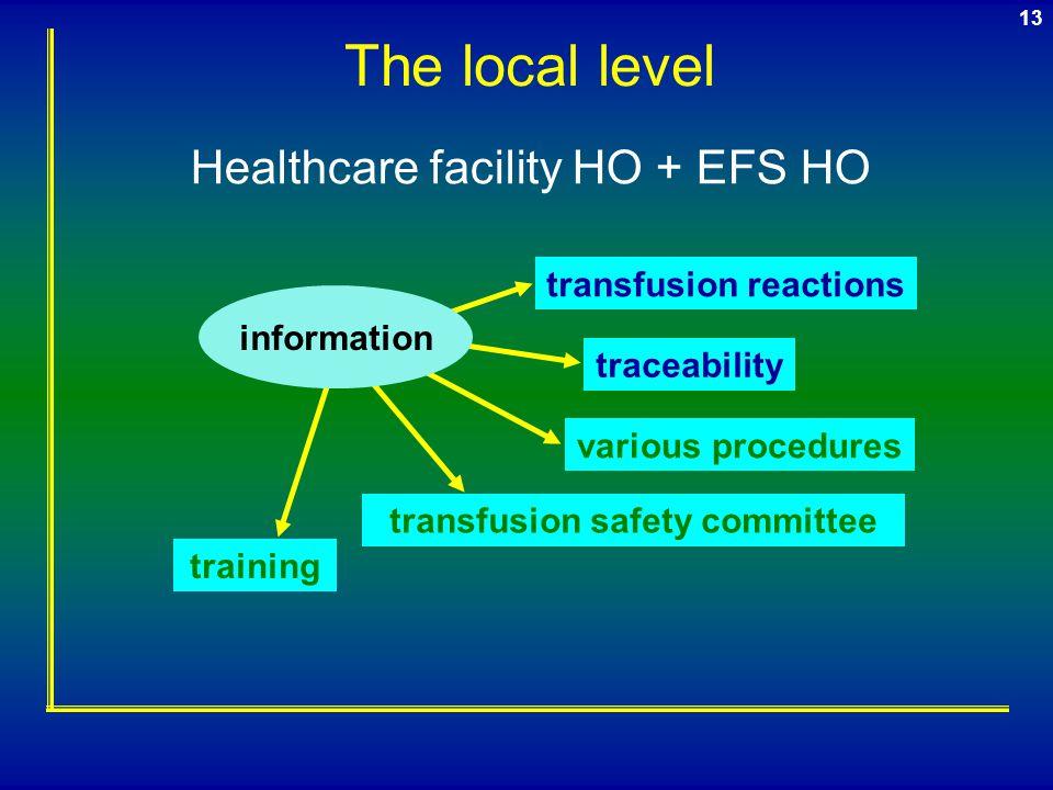 12 EFS AFSSaPS Medical & nursing team Regional coordinator TSHC Haemovigilance officers (HO) Medical & nursing team
