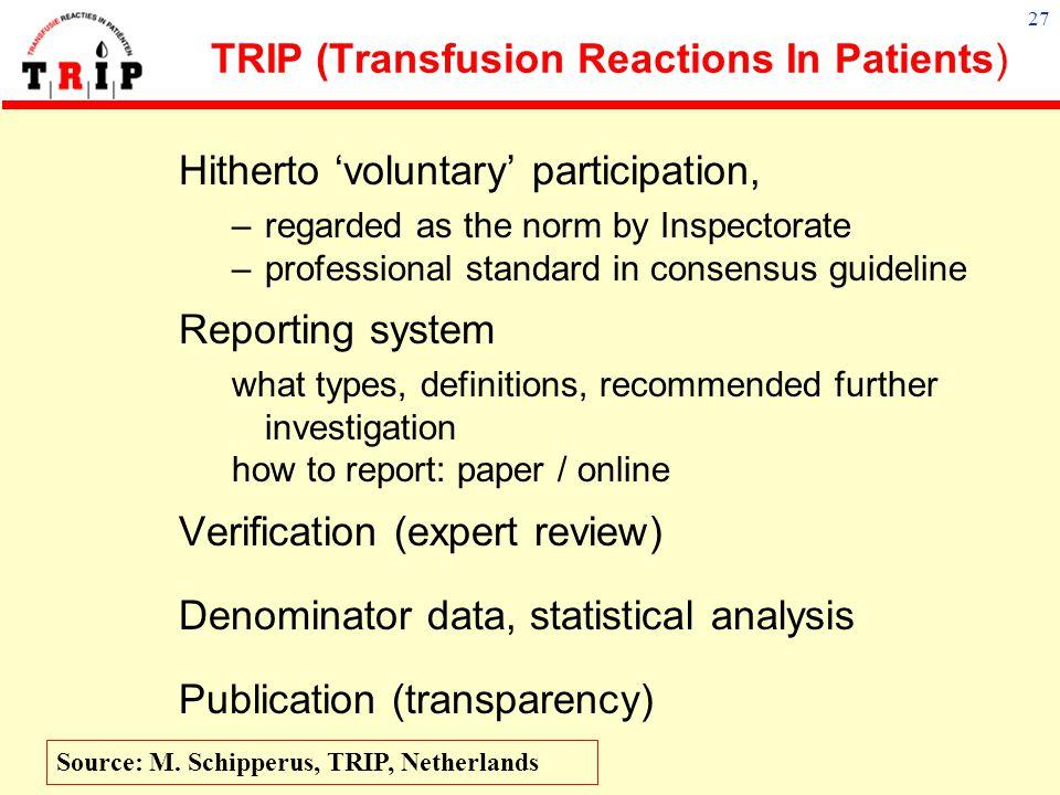 26 Development of hemovigilance Board Medical Societies (Hospital associations, Sanquin) national TRIP office Hospitals blood Tx comm. Hospital labora