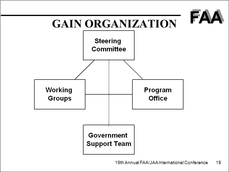 FAA 19th Annual FAA/JAA International Conference 19 GAIN ORGANIZATION