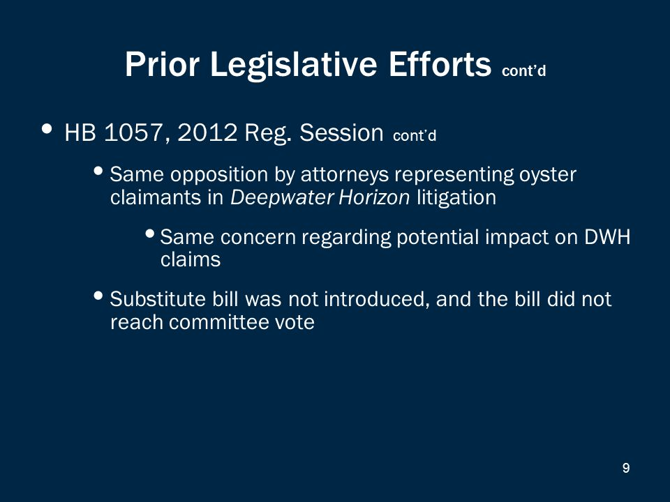 Prior Legislative Efforts cont'd HB 1057, 2012 Reg.