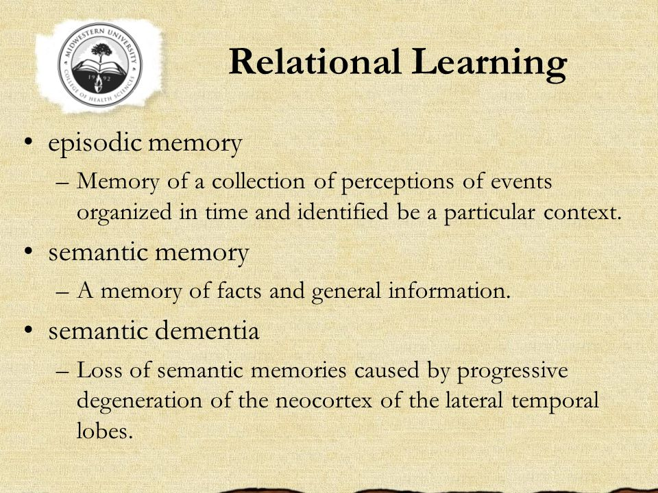 Relational Learning episodic memory –Memory of a collection of perceptions of events organized in time and identified be a particular context.