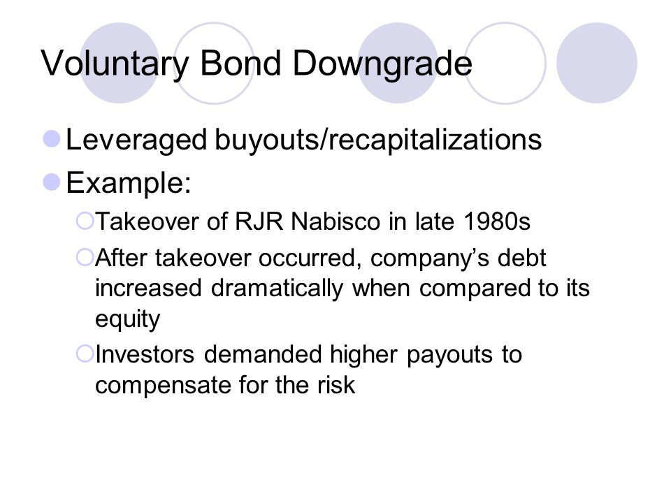 Voluntary Bond Downgrade Leveraged buyouts/recapitalizations Example:  Takeover of RJR Nabisco in late 1980s  After takeover occurred, company's deb
