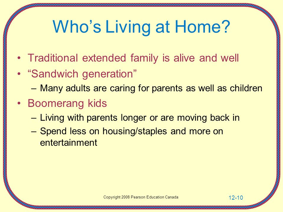 "Copyright 2008 Pearson Education Canada 12-10 Who's Living at Home? Traditional extended family is alive and well ""Sandwich generation"" –Many adults a"