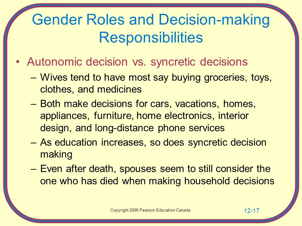 Copyright 2008 Pearson Education Canada 12-17 Gender Roles and Decision-making Responsibilities Autonomic decision vs.