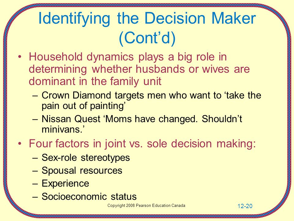 Copyright 2008 Pearson Education Canada 12-20 Identifying the Decision Maker (Cont'd) Household dynamics plays a big role in determining whether husbands or wives are dominant in the family unit –Crown Diamond targets men who want to 'take the pain out of painting' –Nissan Quest 'Moms have changed.