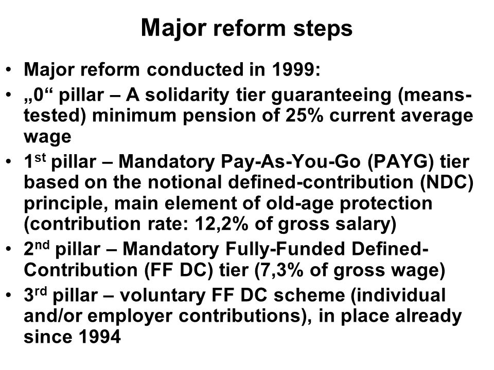 "Major reform steps Major reform conducted in 1999: ""0 pillar – A solidarity tier guaranteeing (means- tested) minimum pension of 25% current average wage 1 st pillar – Mandatory Pay-As-You-Go (PAYG) tier based on the notional defined-contribution (NDC) principle, main element of old-age protection (contribution rate: 12,2% of gross salary) 2 nd pillar – Mandatory Fully-Funded Defined- Contribution (FF DC) tier (7,3% of gross wage) 3 rd pillar – voluntary FF DC scheme (individual and/or employer contributions), in place already since 1994"