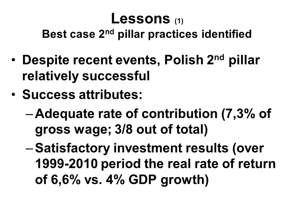 Lessons (1) Best case 2 nd pillar practices identified Despite recent events, Polish 2 nd pillar relatively successful Success attributes: –Adequate rate of contribution (7,3% of gross wage; 3/8 out of total) –Satisfactory investment results (over 1999-2010 period the real rate of return of 6,6% vs.