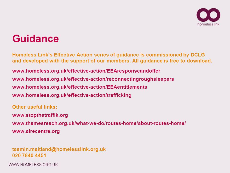 WWW.HOMELESS.ORG.UK Guidance Homeless Link's Effective Action series of guidance is commissioned by DCLG and developed with the support of our members.