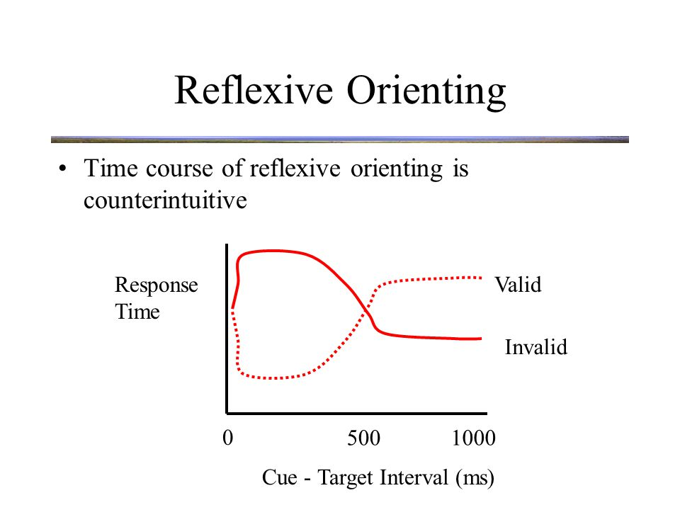 Reflexive Orienting Time course of reflexive orienting is counterintuitive Delayed response at validly cued location after long cue-target interval is known as Inhibition of Return