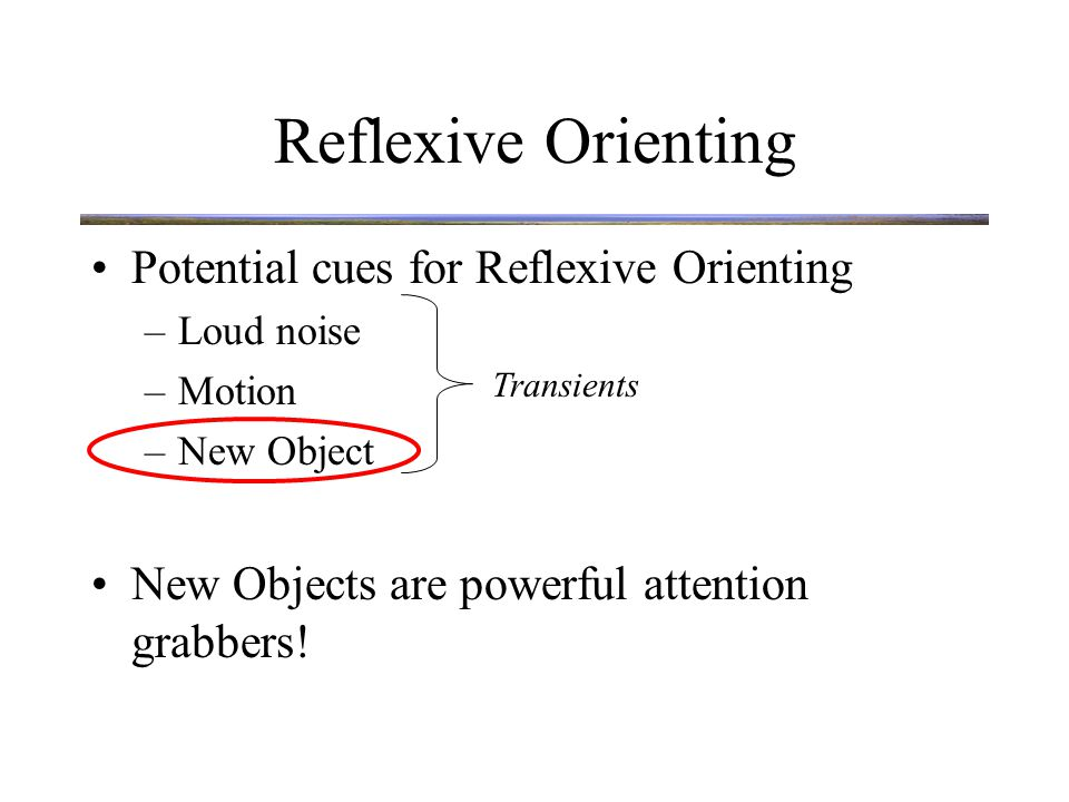 Reflexive Orienting New objects capture attention