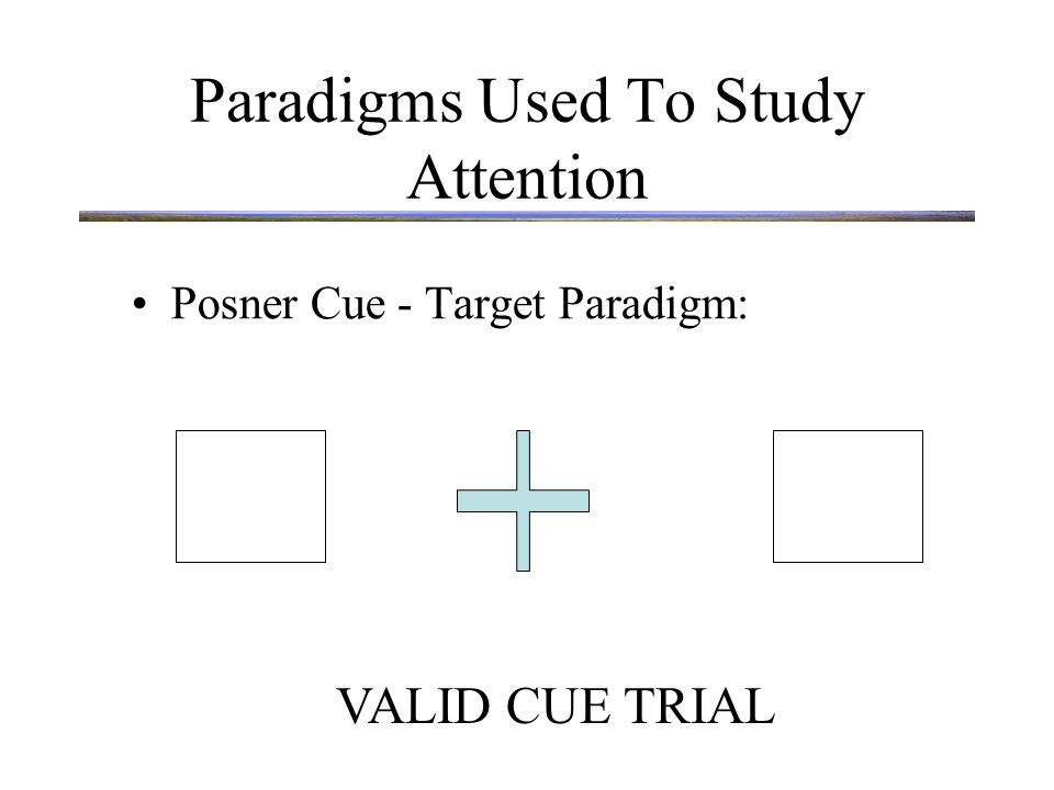 Paradigms Used To Study Attention Posner Cue - Target Paradigm: X VALID CUE TRIAL