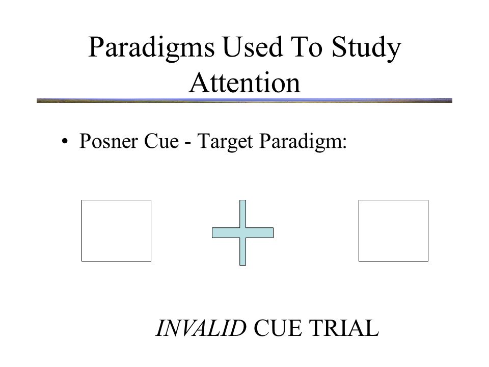 Paradigms Used To Study Attention Posner Cue - Target Paradigm: INVALID CUE TRIAL